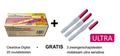 20 Clearblue digitale ovulatietesten + GRATIS 3 ultra gevoelige zwangerschapstesten midstream