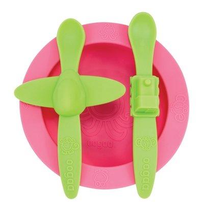 OOGAA maaltijd set roze-groen