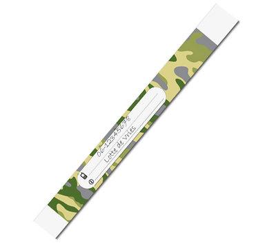 GRATIS BIJ MINIMALE BESTELLING VAN €20: 10 SOS polsbandjes 'camouflage groen'