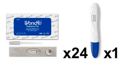 24 zwangerschapstesten cassette + 1 digitaal (Wondfo)