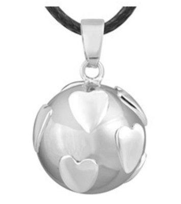 Zwangerschapsketting met zilverkleurige hartjes