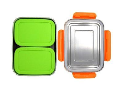 ECOtanka RVS Lunchbox Oranje met 2 Pocketboxen